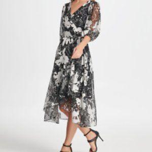 DKNY Black & White Floral Faux Wrap Dress NWT